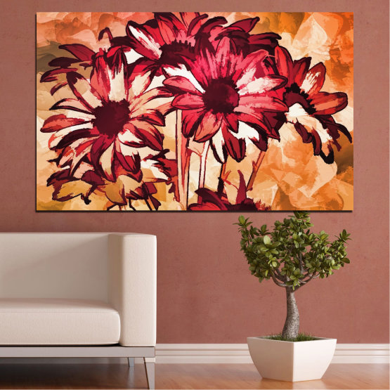 Canvas prints & wall decorative panels - 1 piece №0472 » Red, Orange, Black, Beige » Flowers, Drawing, Gerbera Form #1