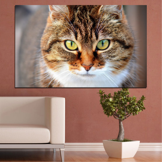 Canvas prints & wall decorative panels - 1 piece №0473 » Brown, Gray, Dark grey » Animal, Portrait, Cat Form #1
