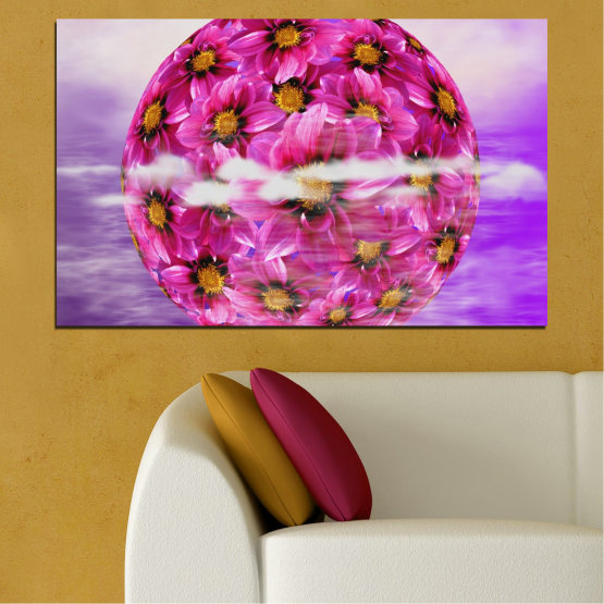 Canvas prints & wall decorative panels - 1 piece №0474 » Pink, Purple, Gray » Flowers, Collage, Reflection, Circle Form #1