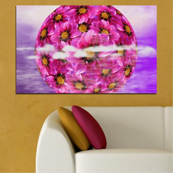 Декоративни панели и картини от канава - от 1 част №0474 » Розов, Лилав, Сив » Цветя, Колаж, Отражение, Кръг Form #1