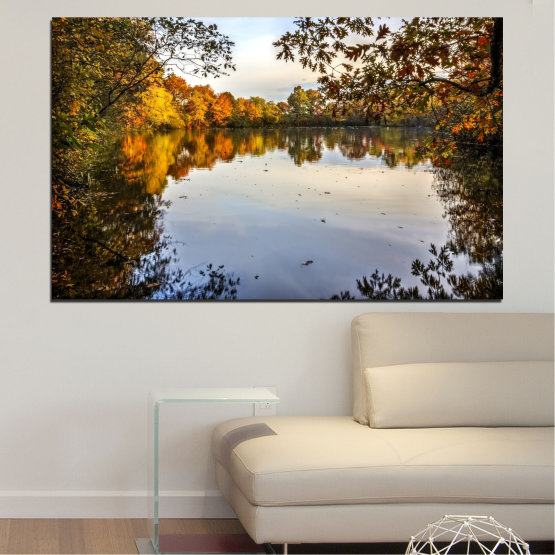 Canvas prints & wall decorative panels - 1 piece №0475 » Brown, Black, Gray, Dark grey » Landscape, Nature, Forest, Water, Autumn Form #1
