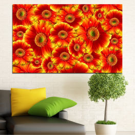Collage, Bouquet, Gerbera » Red, Yellow, Orange