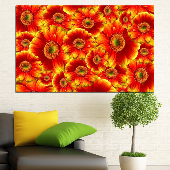 Canvas prints & wall decorative panels - 1 piece №0480 » Red, Yellow, Orange » Collage, Bouquet, Gerbera Form #1