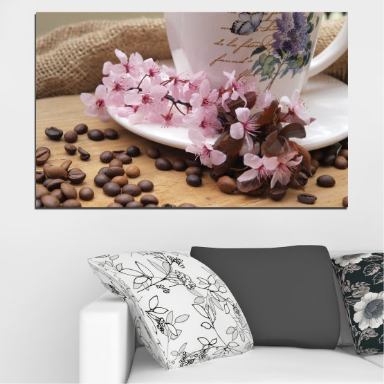 Canvas prints & wall decorative panels - 1 piece №0481 » Brown, Gray, Dark grey » Flowers, Coffee, Culinary Form #1