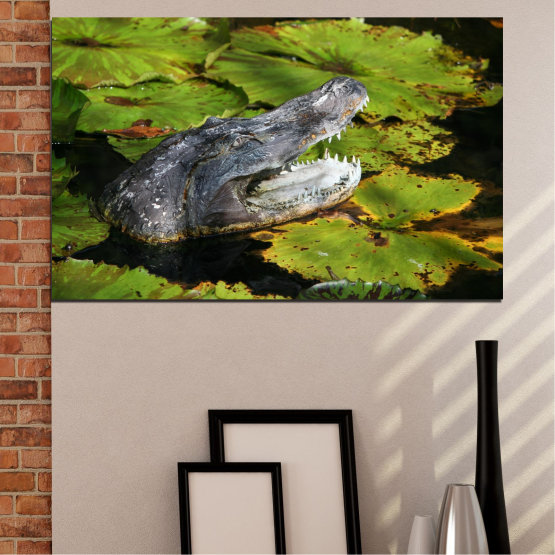 Canvas prints & wall decorative panels - 1 piece №0482 » Green, Black, Dark grey » Animal, Crocodile, Reptile Form #1