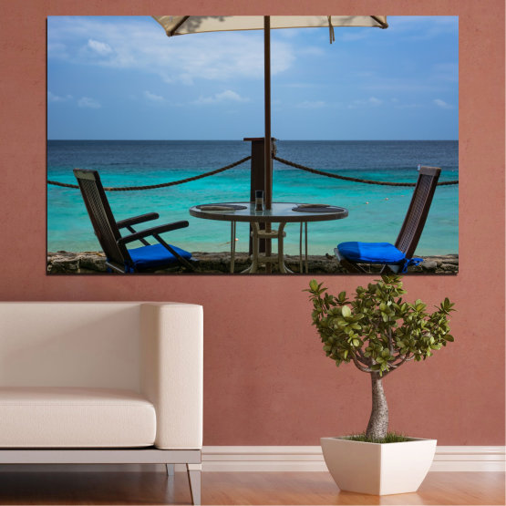 Canvas prints & wall decorative panels - 1 piece №0483 » Turquoise, Black, Gray, Dark grey » Sea, Water, View, Summer Form #1