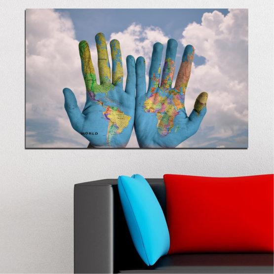 Декоративни панели и картини от канава - от 1 част №0488 » Тюркоаз, Кафяв, Сив, Тъмно сив » Абстракция, Рисунка, География, Карта Form #1