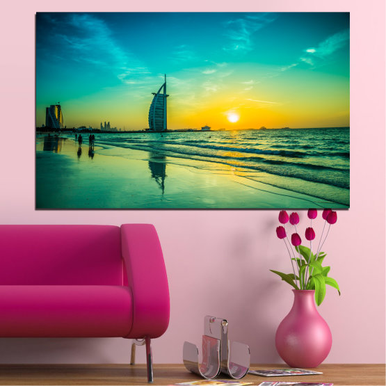 Canvas prints & wall decorative panels - 1 piece №0491 » Blue, Green, Black, Gray, Dark grey » Nature, Landscape, Sea, Sunset, Dubai Form #1