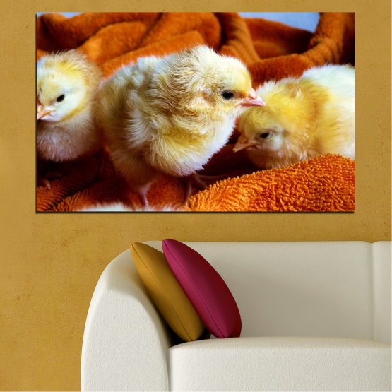 Canvas prints & wall decorative panels - 1 piece №0492 » Red, Orange, Brown, Black » Animal, Birds, Chicken Form #1
