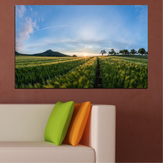 Canvas prints & wall decorative panels - 1 piece №0493 » Turquoise, Green, Black, Gray, Dark grey » Landscape, Nature, Sun, Sunrise, Field Form #1