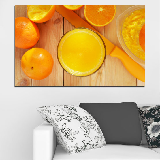 Canvas prints & wall decorative panels - 1 piece №0494 » Green, Yellow, Orange » Culinary, Fruits, Orange Form #1