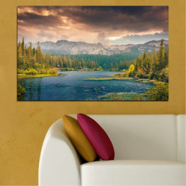 Landscape, Nature, Forest, Water, Mountain, Cloud » Green, Brown, Gray, Beige, Dark grey