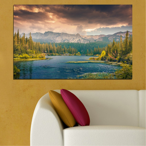 Canvas prints & wall decorative panels - 1 piece №0495 » Green, Brown, Gray, Beige, Dark grey » Landscape, Nature, Forest, Water, Mountain, Cloud Form #1