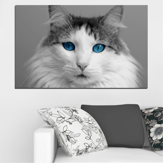 Canvas prints & wall decorative panels - 1 piece №0497 » Black, Gray, White, Dark grey » Animal, Portrait, Cat Form #1