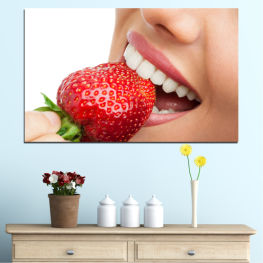 Smile, Teeth, Strawberries » Orange, Brown, Gray, White, Beige