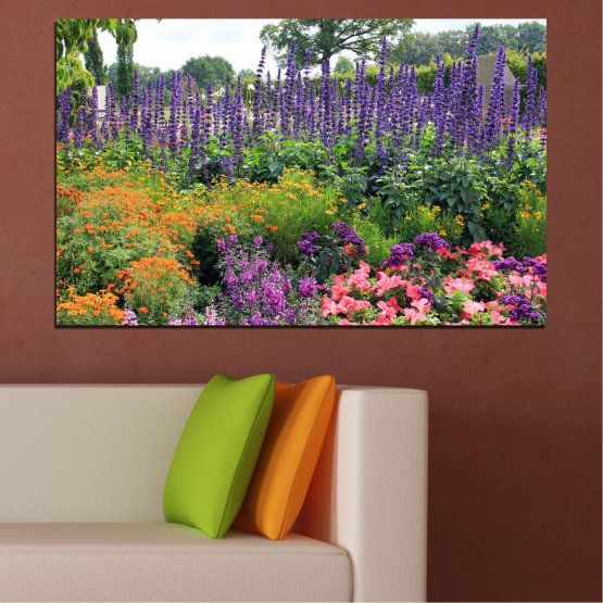 Canvas prints & wall decorative panels - 1 piece №0506 » Green, Brown, Gray, White, Dark grey » Nature, Flowers, Garden Form #1