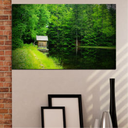 Landscape, Nature, Water, Forest, House » Green, Black, Dark grey