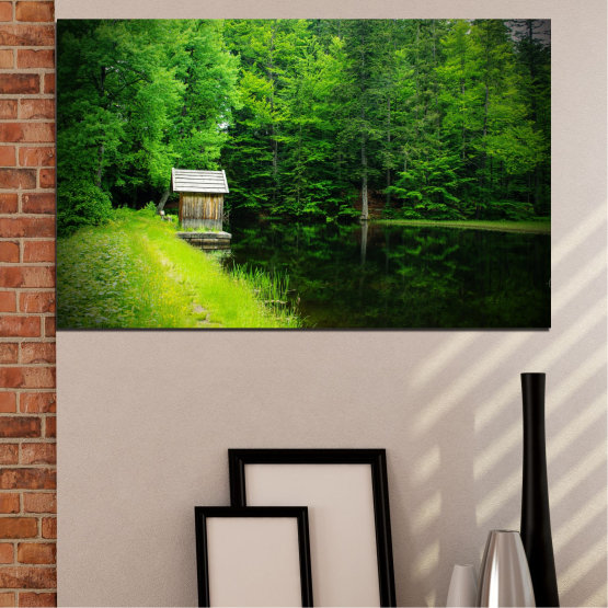 Canvas prints & wall decorative panels - 1 piece №0507 » Green, Black, Dark grey » Nature, Water, Landscape, Forest, House Form #1