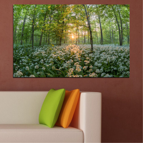 Canvas prints & wall decorative panels - 1 piece №0508 » Green, Brown, Black, Gray, Dark grey » Flowers, Nature, Sun, Forest, Meadow Form #1