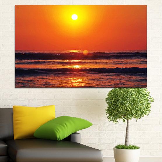 Декоративни панели и картини от канава - от 1 част №0512 » Червен, Оранжев, Черен, Тъмно сив » Пейзаж, Море, Залез, Слънце, Вода, Вълна Form #1