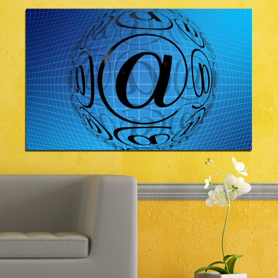 Canvas prints & wall decorative panels - 1 piece №0514 » Blue, Turquoise, Black » Abstraction, Internet, Computer Form #1
