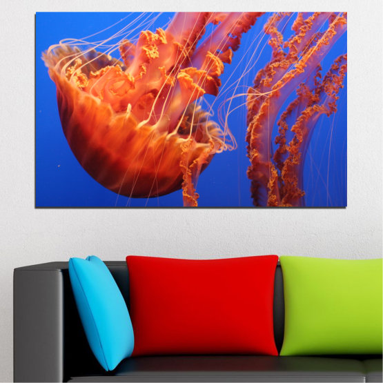 Canvas prints & wall decorative panels - 1 piece №0515 » Red, Blue, Orange » Animal, Water, Jellyfish Form #1