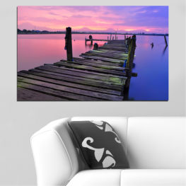 Landscape, Sunset, Water, Bridge » Black, Gray, Milky pink, Dark grey