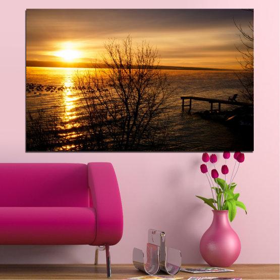 Εκτύπωση σε καμβά και διακοσμητικά πάνελ τοίχου - 1 τεμάχιο №0517 » Πορτοκάλι, Καστανός, Μαύρος, Σκούρο γκρι » Θάλασσα, Ηλιοβασίλεμα, Νερό, Κόλπος, Γέφυρα Form #1