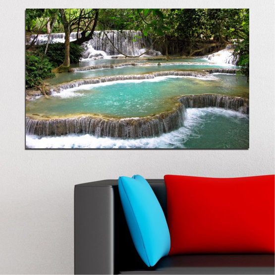 Canvas prints & wall decorative panels - 1 piece №0518 » Green, Black, Gray, White, Dark grey » Nature, Landscape, Waterfall, Water, Forest Form #1