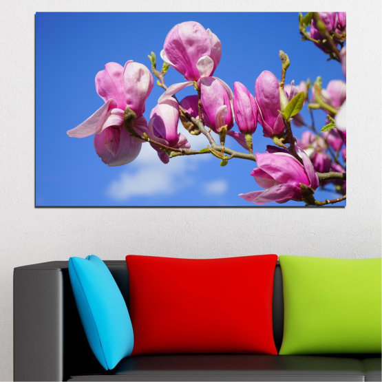 Canvas prints & wall decorative panels - 1 piece №0520 » Purple, Blue, Turquoise, Gray, Milky pink » Nature, Flowers, Tree Form #1