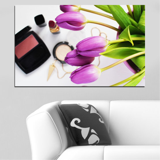 Canvas prints & wall decorative panels - 1 piece №0521 » Purple, Black, Gray, White, Beige » Flowers, Fashion, Tulip, Makeup Form #1