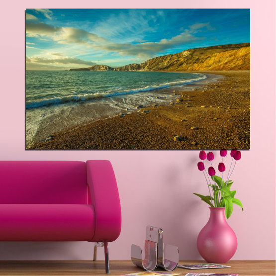 Canvas prints & wall decorative panels - 1 piece №0526 » Blue, Brown, Gray, Dark grey » Landscape, Sea, Water, Beach, Wave, Rocks Form #1