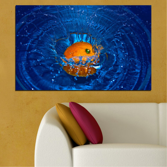 Canvas prints & wall decorative panels - 1 piece №0527 » Blue, Brown, Black, Dark grey » Water, Drops, Fruits, Orange Form #1