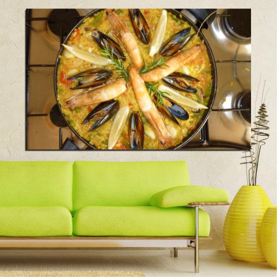 Декоративни панели и картини от канава - от 1 част №0528 » Зелен, Оранжев, Кафяв, Черен » Кулинарен, Ястие, Паеля Form #1