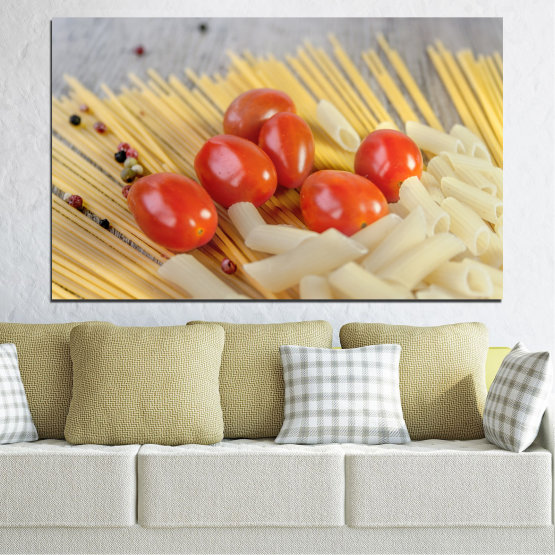 Canvas prints & wall decorative panels - 1 piece №0530 » Red, Green, Orange, Gray, Beige » Culinary, Italy, Paste Form #1