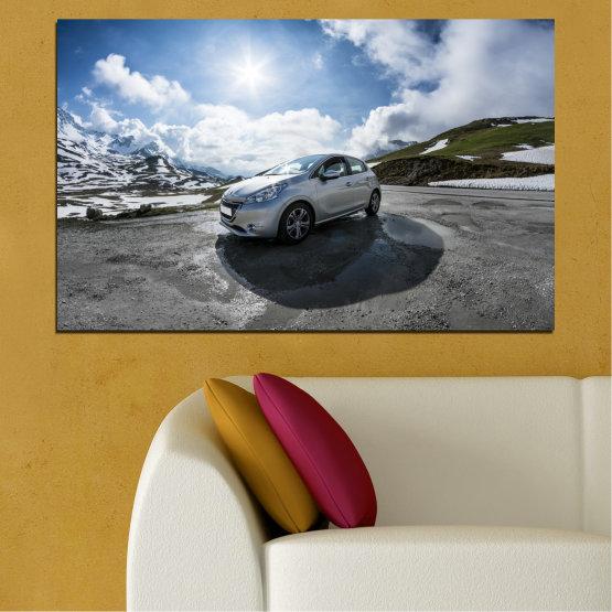 Canvas prints & wall decorative panels - 1 piece №0531 » Black, Gray, Dark grey » Sun, Car, Vehicle, Road Form #1