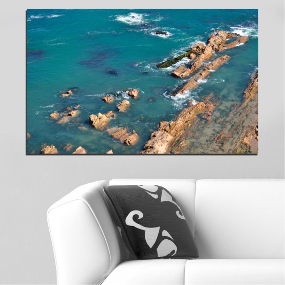 Canvas prints & wall decorative panels - 1 piece №0533 » Blue, Brown, Gray, Dark grey » Sea, Water, Rocks Form #1
