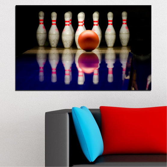 Canvas prints & wall decorative panels - 1 piece №0534 » Brown, Black, Gray, Dark grey » Reflection, Sport, Ball, Bowling Form #1