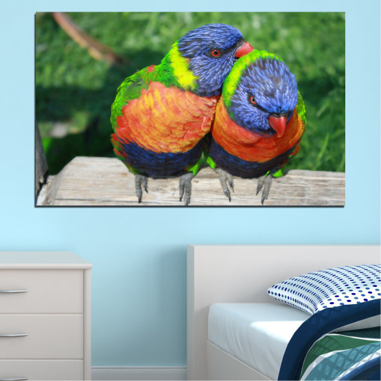 Canvas prints & wall decorative panels - 1 piece №0535 » Green, Gray, Dark grey » Birds, Colorful, Parrot Form #1