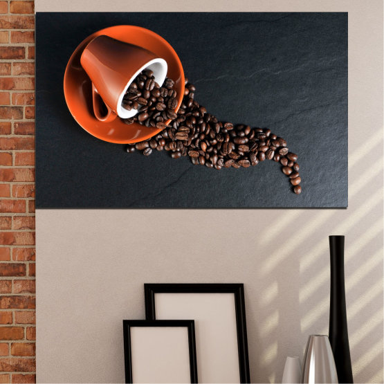 Canvas prints & wall decorative panels - 1 piece №0536 » Orange, Brown, Black, Dark grey » Culinary, Coffee, Drink Form #1