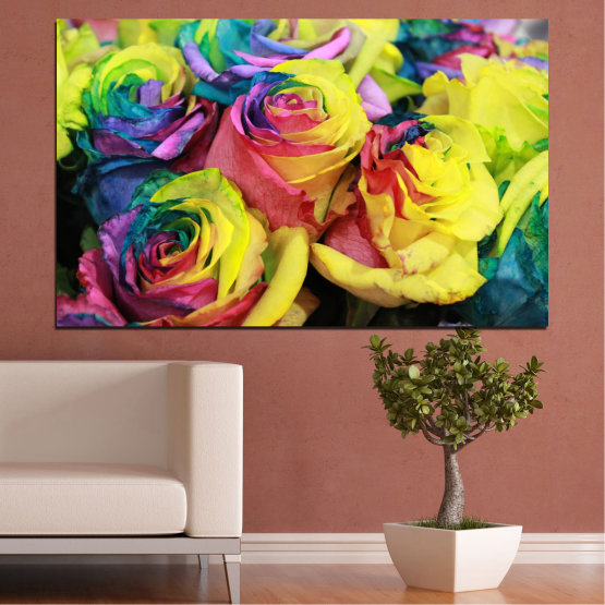 Canvas prints & wall decorative panels - 1 piece №0537 » Red, Green, Yellow, Black, Dark grey » Flowers, Rose, Colorful Form #1