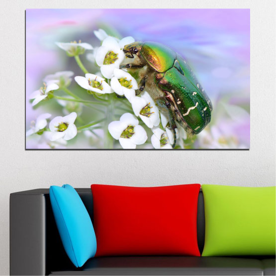 Canvas prints & wall decorative panels - 1 piece №0538 » Brown, Gray, White » Flowers, Animal, Beetle Form #1