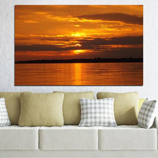 Декоративни панели и картини от канава - от 1 част №0541 » Оранжев, Кафяв, Черен » Море, Пейзаж, Вода, Залез, Слънце Form #1
