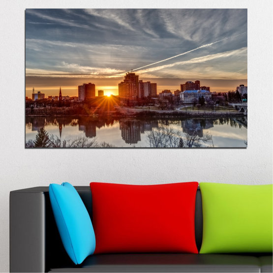 Canvas prints & wall decorative panels - 1 piece №0542 » Brown, Black, Gray, Dark grey » Sunset, Water, City, Reflection Form #1
