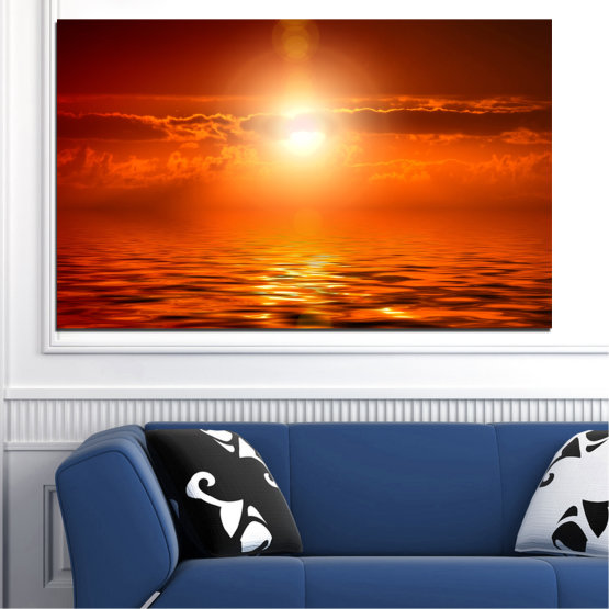 Canvas prints & wall decorative panels - 1 piece №0543 » Red, Orange, Brown » Landscape, Sea, Water, Sunset, Sun Form #1