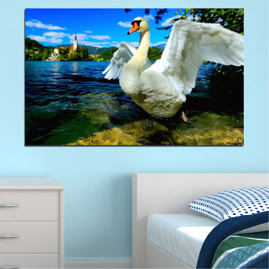 Canvas prints & wall decorative panels - 1 piece №0544 » Blue, Black, Gray, Dark grey » Nature, Water, Birds, Swan Form #1