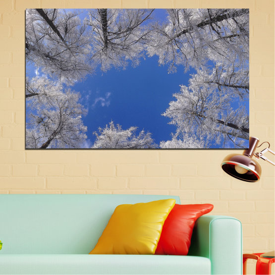 Canvas prints & wall decorative panels - 1 piece №0546 » Blue, Gray, Dark grey » Forest, Tree, Sky, Winter Form #1