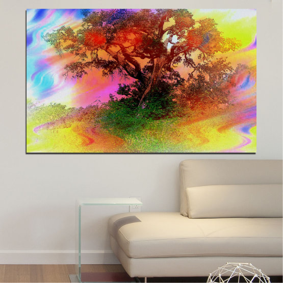 Canvas prints & wall decorative panels - 1 piece №0547 » Green, Orange, Brown, Gray, Beige » Abstraction, Tree, Colorful Form #1