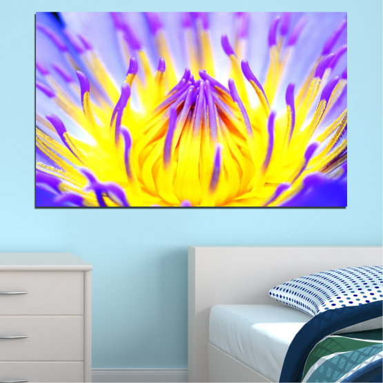 Canvas prints & wall decorative panels - 1 piece №0548 » Purple, Yellow, Gray » Flowers, Colorful, Leaf Form #1