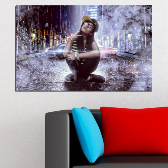 Canvas prints & wall decorative panels - 1 piece №0549 » Black, Gray, Dark grey » Woman, City, Smoke, Night, Music Form #1
